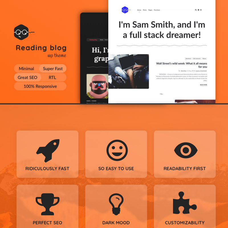 Reading Blog, Readability Focusing WordPress Theme