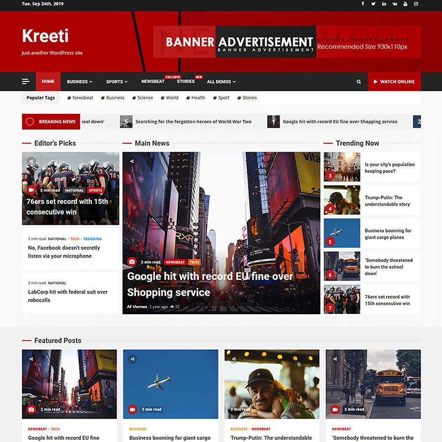 Kreeti - Clean and Elegant Responsive WordPress Theme